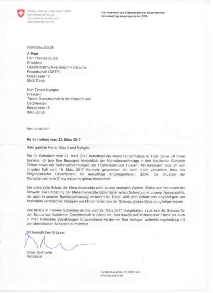 Antwort Von Bundesrat Didier Burkhalter Gesellschaft Schweizerisch