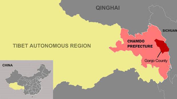Gonjo in der Präfektur Chamdo (Karte: Radio Free Asia)