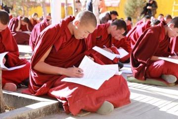 Mönche bei der Prüfung in Ganden (Foto: Tibet Watch)